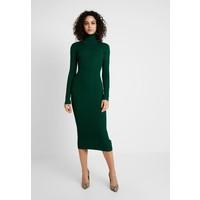 Missguided ROLL NECK RIBBED MINI DRESS Sukienka dzianinowa forest green M0Q21C11L