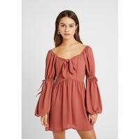 Missguided Petite PUFF SLEEVES TIE MINI DRESS Sukienka letnia pink M0V21C087