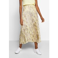 Rich & Royal PLISSEE SKIRT WITH SNAKE PRINT Długa spódnica light lemon RI521B013