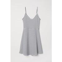 H&M Krótka sukienka z dżerseju 0496762005 Biały/Czarne paski