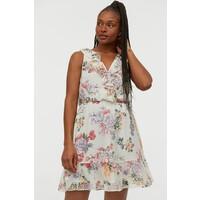 H&M Krótka sukienka z falbaną 0864231002 Biały/Kwiaty
