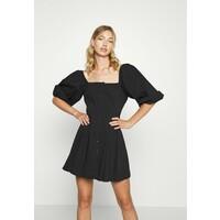 Missguided PUFF SLEEVE BUTTON THROUGH MINI DRESS Sukienka koszulowa black M0Q21C1LO