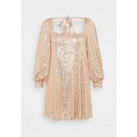 Missguided Plus BALLOON SLEEVE TIE BACK SEQUIN DRESS Sukienka koktajlowa gold M0U21C0EH