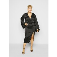 Missguided Plus BALLOON SLEEVE WRAP FRONT DRESS Sukienka letnia black M0U21C0CX