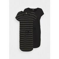 ONLY Tall ONLMAY LIFE DRESS 2 PACK Sukienka z dżerseju black/thin stripe/black solid OND21C01I