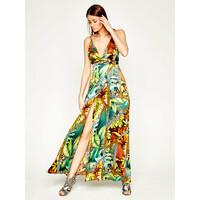 Guess Sukienka letnia JENNIFER LOPEZ 0GG740 9239Z Zielony Regular Fit