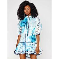 IXIAH Sukienka letnia IX22-80510 Niebieski Regular Fit