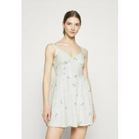 Missguided FLORAL BRODERIE CORSET SKATER DRESS Sukienka letnia white M0Q21C1Y3