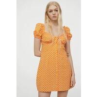 H&M Krótka sukienka trapezowa 0991909001 Pomarańczowy/Białe kwiaty