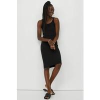 H&M Sukienka z dżerseju w prążki 0991209006 Czarny