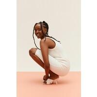 H&M Sukienka z dżerseju w prążki 0991209006 Biały