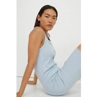 H&M Sukienka z dżerseju w prążki 0991209008 Jasnoniebieski