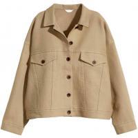 H&M Szeroka kurtka z diagonalu 0286513001 Beżowy