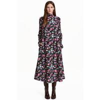 H&M Wzorzysta sukienka 0439616001 Czarny/Kwiaty