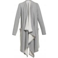 Fukki Bawełniany płaszcz z długimi połami szary