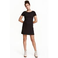 H&M Sukienka z dżerseju w prążki 0437735004 Czarny