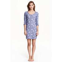 H&M Koszula nocna z dżerseju 0153852026 Niebieski/Gwiazdy