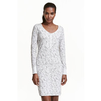H&M Koszula nocna z dżerseju 0153852026 Jasnoszary/Wzór