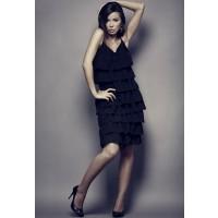Sukienka OnaStyl w czarne falbanki
