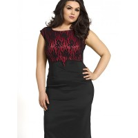 Kartes Moda Sukienka SUKIENKA Model KM52PS Black/Red PLUS SIZE