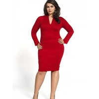 Kartes Moda Sukienka SUKIENKA Model KM08-1PS Red PLUS SIZE