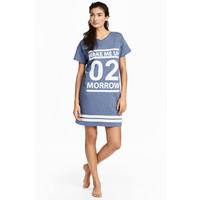 H&M Koszula nocna z nadrukiem 0394359001 Niebieski melanż