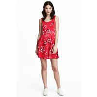 H&M Dżersejowa sukienka 0467302028 Czerwony/Kwiaty