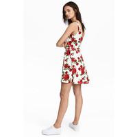 H&M Dżersejowa sukienka 0467302028 Biały/Róże