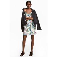 H&M Krótka sukienka 0504113005 Biały/Liście