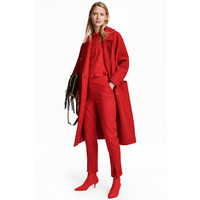 H&M Wełniany płaszcz 0547210005 Jaskrawoczerwony
