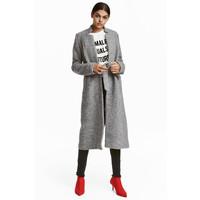 H&M Płaszcz z domieszką wełny 0530665001 Szary melanż