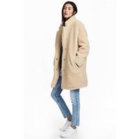 H&M Krótki płaszcz pluszowy 0542729003 Beżowy