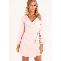 Missguided Petite WRAP SIDE LONG SLEEVE Sukienka letnia nude M0V21C035