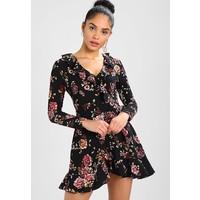 Missguided FLORAL LONG SLEEVE RUFFLE DRESS Sukienka letnia black M0Q21C0OX