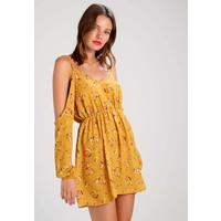 Missguided FLORAL COLD SHOULDER SPLIT SLEEVE Sukienka letnia yellow M0Q21C0KW