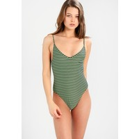 Les Girls Les Boys STRIPE SWIMSUIT Kostium kąpielowy pea green/black LEJ81G000