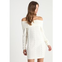 Missguided CABLE JUMPER DRESS Sukienka dzianinowa cream M0Q21C0XR