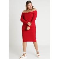 Missguided Plus SLINKY RUCHED MIDI DRESS Sukienka z dżerseju red M0U21C079