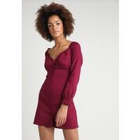 Missguided BUTTON DOWN MILKMAID DRESS Sukienka letnia burgundy M0Q21C123