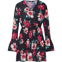 Missguided Sukienka 'Floral Polka Dot Flared Sleeve Dress' MGD0053001000001