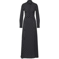 Missguided Sukienka koszulowa 'Polka Dot Front Split Long Sleeve Maxi Dress Black' MGD0158001000001