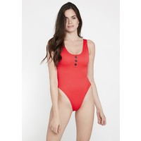 Missguided POPPER FRONT HIGH LEG SWIMSUIT Kostium kąpielowy red M0Q81G011