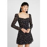 Missguided FLORAL SQUARE NECK MINI DRESS Sukienka koktajlowa black M0Q21C198