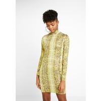 Missguided SNAKE PRINT HIGH NECK MINI DRESS Sukienka etui yellow M0Q21C16C