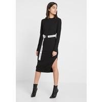 Missguided SIDE SPLIT MIDI DRESS WITH BELT Sukienka z dżerseju black M0Q21C15M
