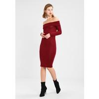 Missguided FOLDOVER BARDOT LONG SLEEVE MIDI DRESS Sukienka dzianinowa burgundy M0Q21C0QO
