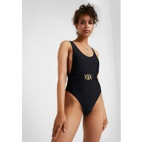 Missguided PLAYBOY BUCKLE PLUNGE HIGH LEG SWIMSUIT Kostium kąpielowy black M0Q81G01A