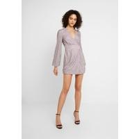 Missguided EMBELLISHED WRAP TIE DETAIL BLOUSON SLEEVE MINI DRESS Sukienka koktajlowa lilac M0Q21C1B6