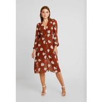 Missguided FLORAL BUTTON DOWN MIDI DRESS Sukienka koszulowa brown M0Q21C1BX
