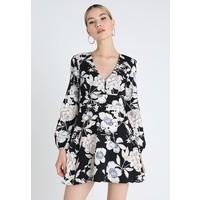 Missguided BUTTON DETAIL FLORAL DRESS Sukienka letnia black M0Q21C0YA